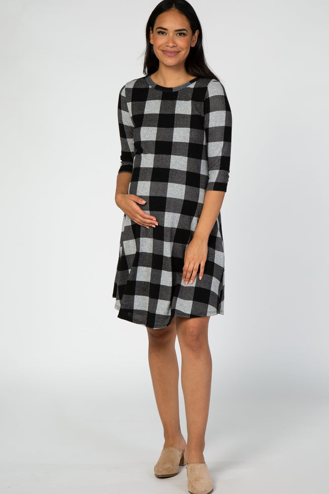 Black Plaid Print Maternity Knit Dress