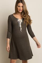 Olive Soft Knit Tribal Lace-Up Accent Maternity Dress