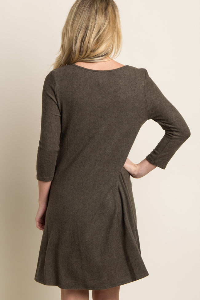 Olive Soft Knit Tribal Lace-Up Accent Dress