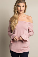 Pink Off Shoulder Ruffle Sleeve Maternity Sweater