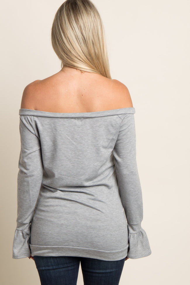 Heather Grey Off Shoulder Ruffle Sleeve Maternity Sweater