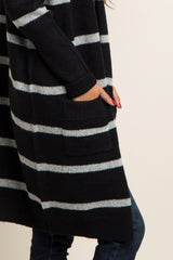 Black Striped Knit Cardigan