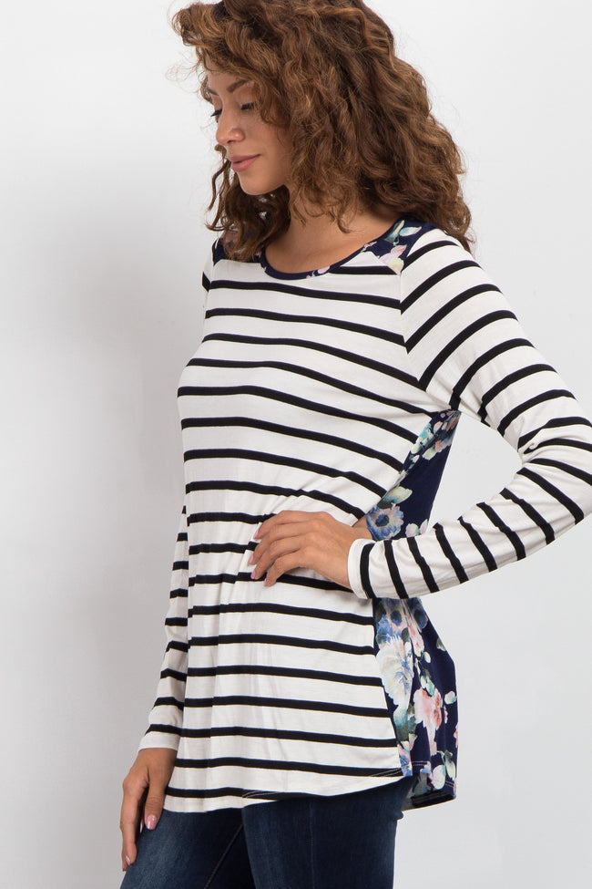 Ivory Striped Front Floral Back Top