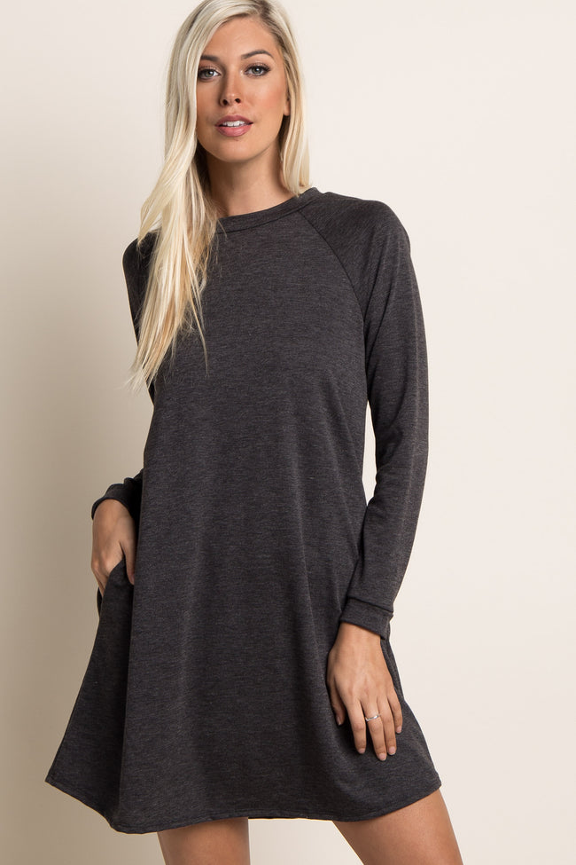 Charcoal Grey Solid Long Sleeve Sweater Dress
