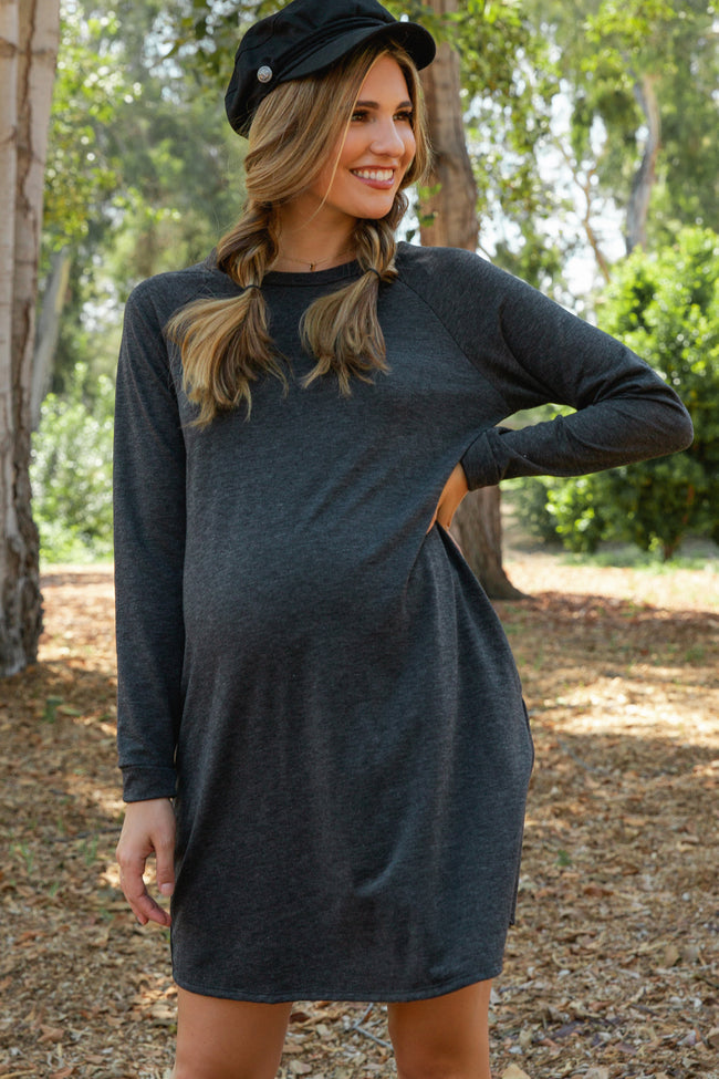 Charcoal Grey Solid Long Sleeve Maternity Sweater Dress