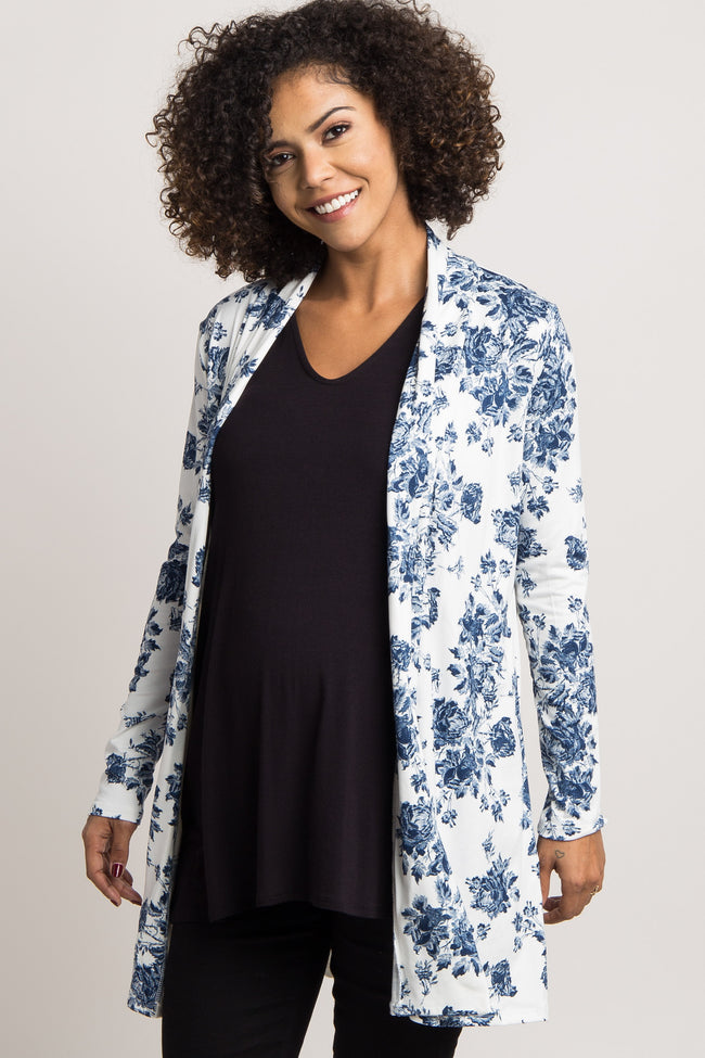 Navy Floral Maternity Cardigan