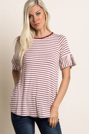 Burgundy Striped Ruffle Sleeve Top