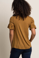 Yellow Striped Ruffle Sleeve Maternity Top