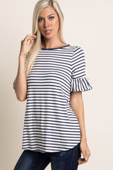 Navy Striped Ruffle Sleeve Top