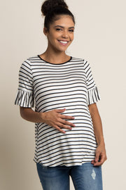 White Striped Ruffle Sleeve Maternity Top