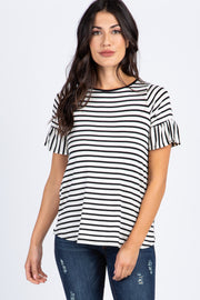 White Striped Ruffle Sleeve Top