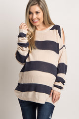 Charcoal Striped Cold Shoulder Knit Maternity Top