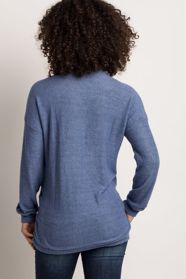 Blue Soft Knit Cutout Mock Neck Maternity Top