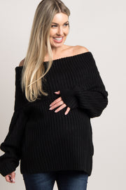 Black Foldover Off Shoulder Maternity Knit Sweater