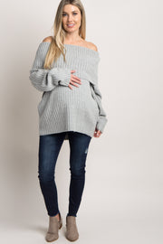 Grey Foldover Off Shoulder Maternity Knit Sweater