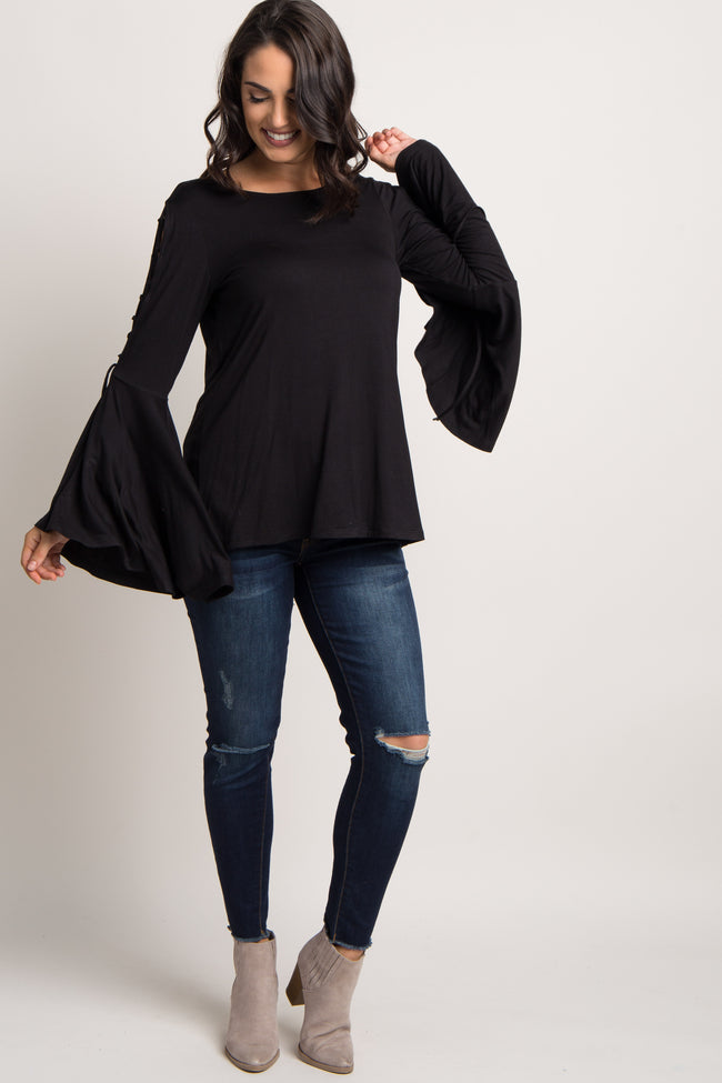Black Lace-Up Bell Sleeve Top