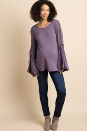 Lavender Lace-Up Bell Sleeve Maternity Top