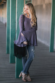 Lavender Lace-Up Bell Sleeve Top
