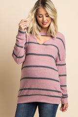 Mauve Striped Soft Knit Cutout Maternity Top