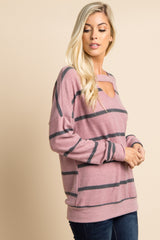 Mauve Striped Soft Knit Cutout Top