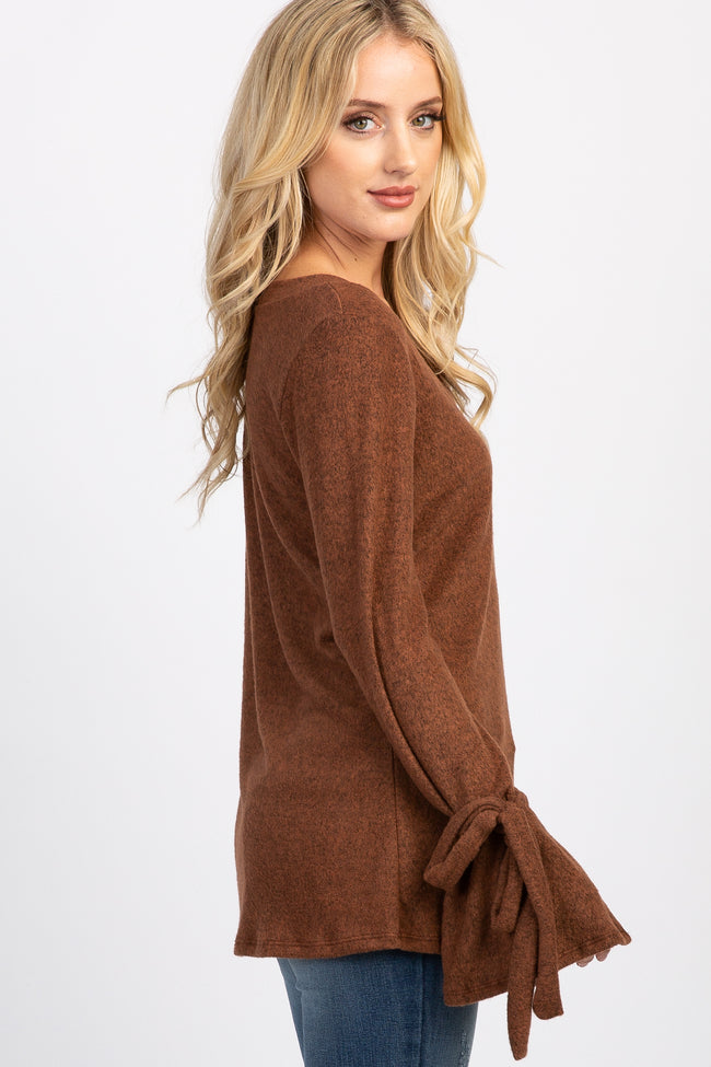 Rust Sleeve Tie Maternity Top