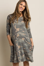 Green Faded Camo Print Maternity Dress