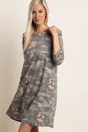 Green Faded Camo Print Dress
