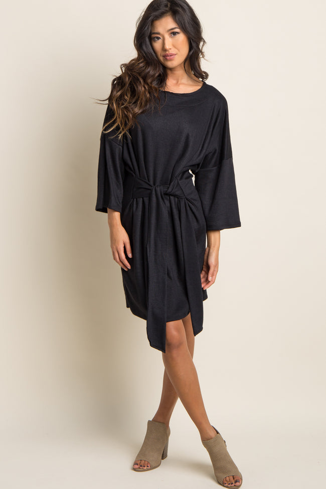 Black Mock Sleeve Tie Dress