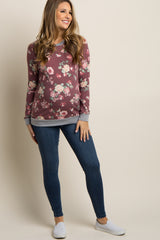 Burgundy Faded Floral Colorblock Maternity Sweatshirt