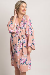 Pink Floral Delivery/Nursing Maternity Robe