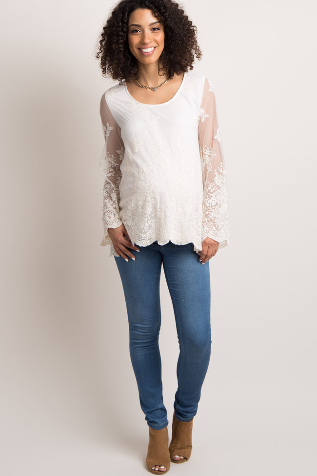 Ivory Lace Mesh Overlay Scalloped Maternity Top