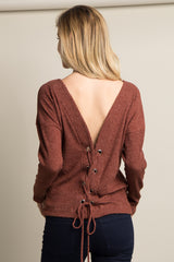 Rust Lace-Up Back Ribbed Knit Top