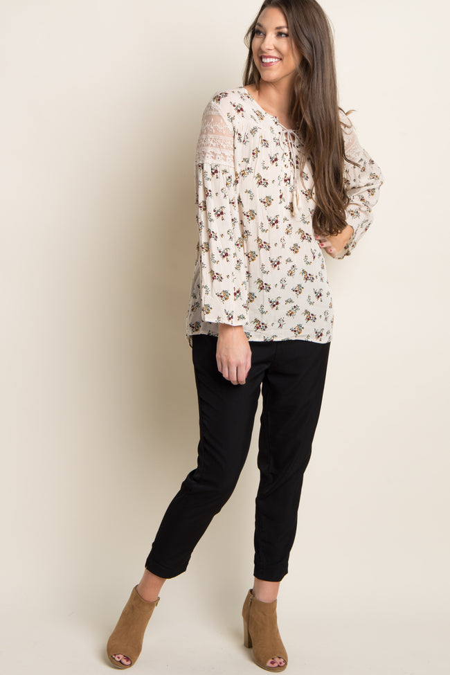 Ivory Floral Lace-Up Blouse