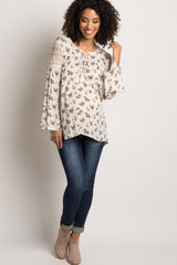 Ivory Floral Lace-Up Maternity Blouse