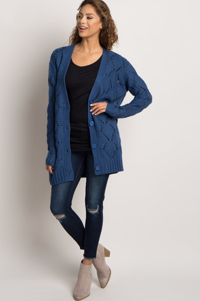 Blue Open Knit Button Front Maternity Cardigan