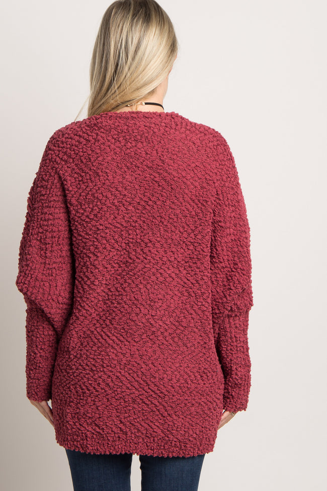 Red Popcorn Knit Maternity Cardigan