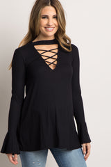 Black Crisscross Bell Sleeve Maternity Top