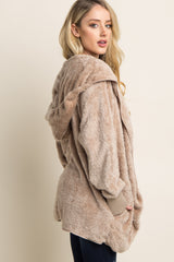 Taupe Fuzzy Hooded Long Sleeve Jacket