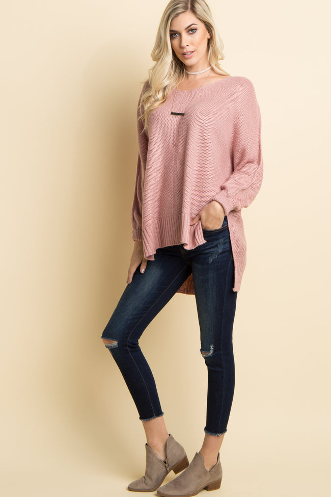Mauve Solid Knit Dolman Sleeve Sweater