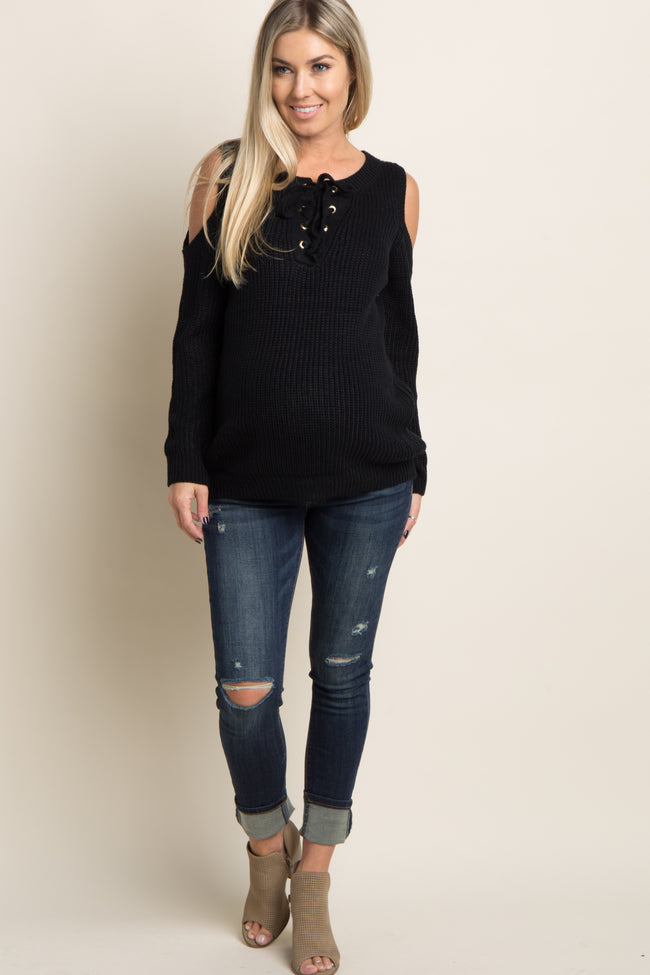 Black Cold Shoulder Lace-Up Knit Maternity Sweater