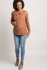 Peach Lace-Up Cold Shoulder Knit Maternity Top