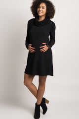 Black Cutout Sleeve Cowl Neck Maternity Dress