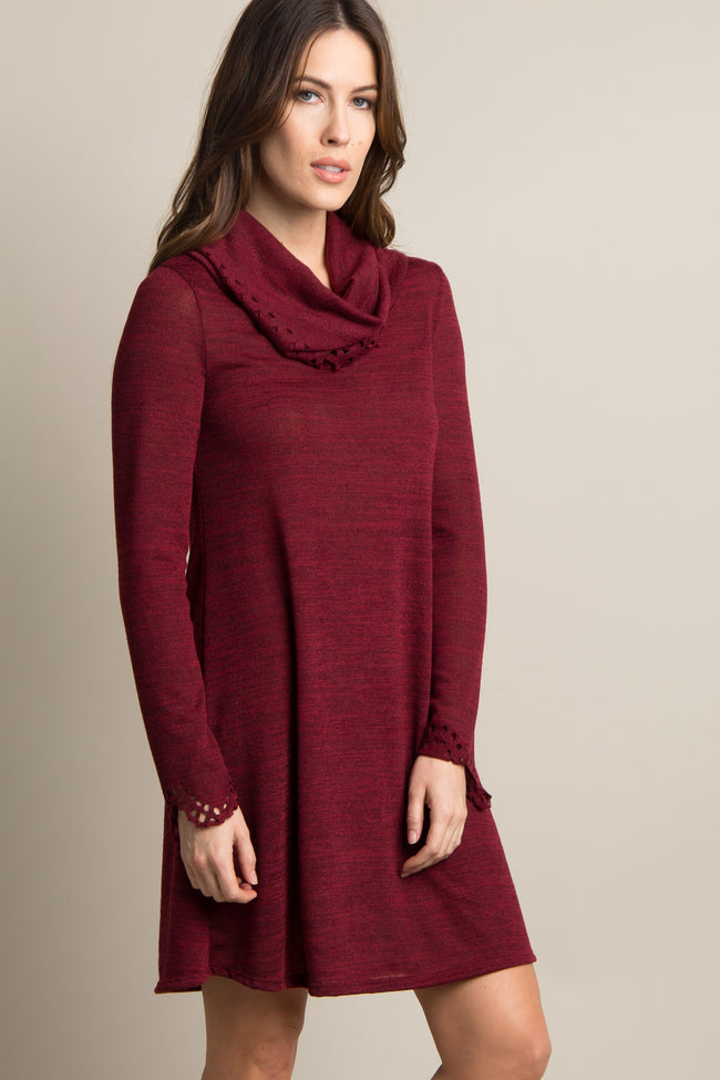 Burgundy Cutout Sleeve Cowl Neck Maternity Dress