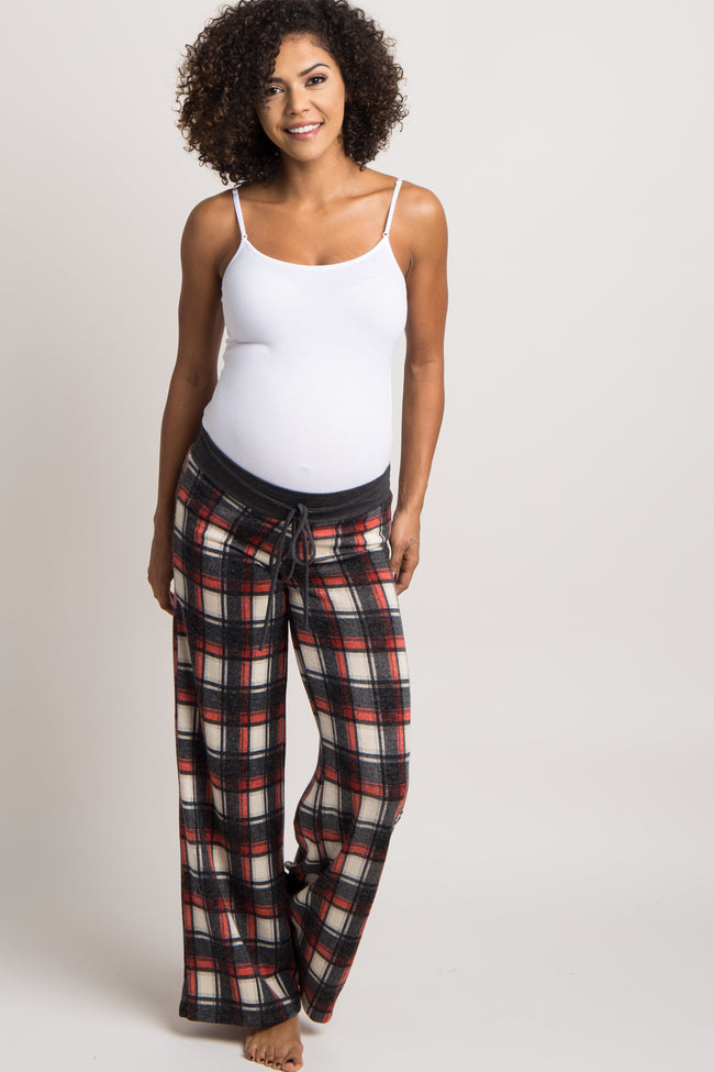 Black Plaid Maternity Pajama Pants