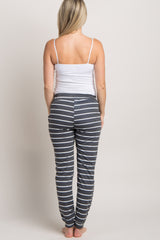 Charcoal Grey Striped Drawstring Maternity Sweatpants
