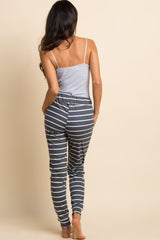 Charcoal Grey Striped Drawstring Sweatpants