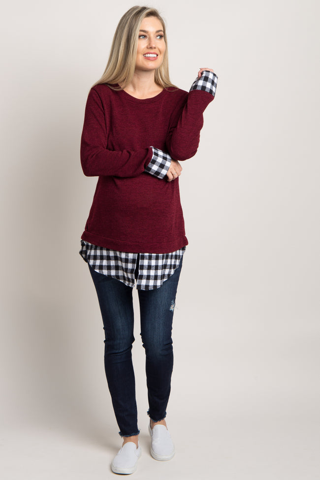 Burgundy Plaid Shirttail Accent Knit Maternity Top