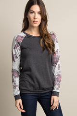 Charcoal Grey Floral Sleeve Colorblock Top