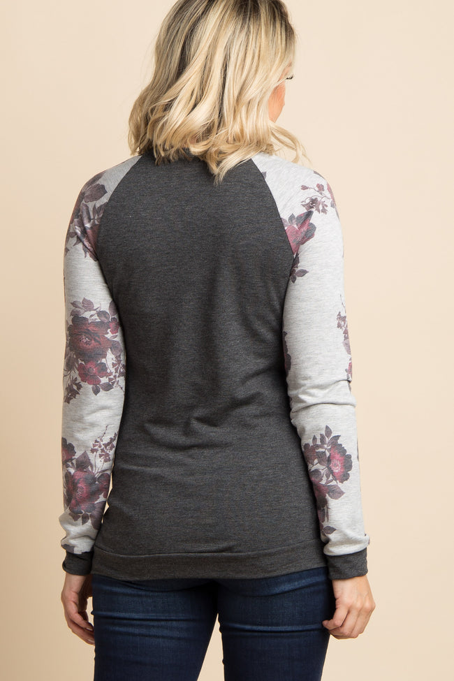 Charcoal Grey Floral Sleeve Colorblock Maternity Top