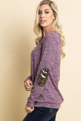 Violet Heathered Sequin Elbow Patch Sweater